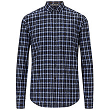 Buy BOSS Orange Edipoe Check Slim Fit Shirt, Medium Blue Online at johnlewis.com