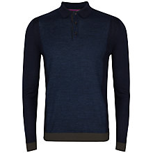 Buy Ted Baker Waywin Colour Block Wool Collared Jumper, Dark Blue Online at johnlewis.com