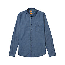 Buy BOSS Orange Eslime Chambray Shirt, Dark Blue Online at johnlewis.com