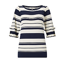 Buy Somerset by Alice Temperley Striped Frill Sleeve Knit, Navy/White Online at johnlewis.com