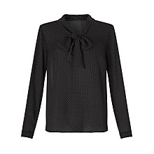 Buy John Lewis Suzy Tie Pin Dot Blouse, Black Online at johnlewis.com