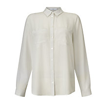 Buy John Lewis Jeanne Pocket Print Detail Silk Blouse, Grey Online at johnlewis.com