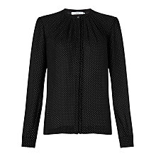 Buy John Lewis Sally Pin Dot Blouse, Black/White Online at johnlewis.com