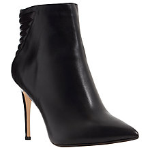 Buy Dune Ona Pointed Toe Heeled Ankle Boot, Black Leather Online at johnlewis.com