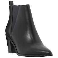 Buy Dune Preslee Toe Pointed Block Heel Ankle Boots, Black Leather Online at johnlewis.com