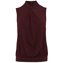 Buy Karen Millen Ruffle Georgette Sleeveless Blouse, Aubergine Online at johnlewis.com