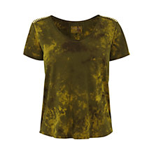 Buy Karen Millen Stud Shoulder Tee, Khaki Online at johnlewis.com