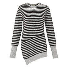 Buy Whistles Striped Asymmetric Knit, Grey Online at johnlewis.com