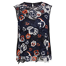 Buy Karen Millen Floral Embellished Top, Navy Online at johnlewis.com