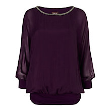 Buy Phase Eight Jessica Beaded Neck Blouse, Plum Online at johnlewis.com