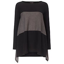 Buy Phase Eight Caroline Colour Block Top, Black/Mocha Online at johnlewis.com