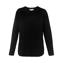 Buy Whistles Ribbed Sleeve Boxy Knit, Black Online at johnlewis.com