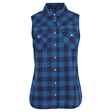 Buy Karen Millen Sleeveless Checked Shirt, Blue/Multi Online at johnlewis.com