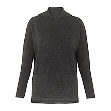 Buy Whistles Cashmere Tweed Hoody, Dark Grey Online at johnlewis.com