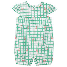 Buy John Lewis Baby Check Flamingo Playsuit, Cream/Green Online at johnlewis.com