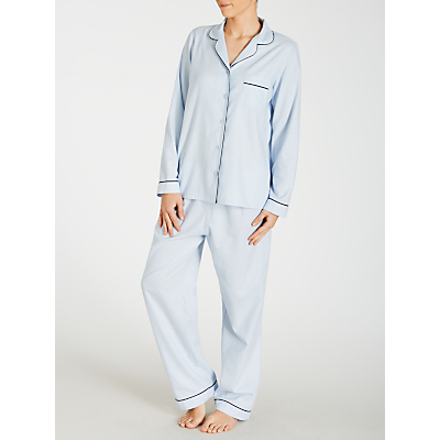 John Lewis Chambray Pyjama Set, Light Blue