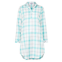 Buy John Lewis Check Long Sleeved Nightshirt, Aqua Online at johnlewis.com