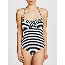 Buy John Lewis Textured Mini Stripe Swimsuit, Navy/White Online at johnlewis.com