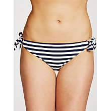 Buy John Lewis Textured Mini Stripe Tie Bikini Briefs, Navy/White Online at johnlewis.com