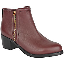 Buy Ted Baker Jyion Side Zip Ankle Boots, Red Leather Online at johnlewis.com
