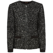 Buy Jaeger Bouclé Zip Front Jacket, Black Online at johnlewis.com