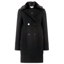 Buy Whistles Trudie Faux Fur Trim Coat, Black Online at johnlewis.com
