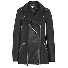 Buy Whistles Lana Longline Leather Biker, Black Online at johnlewis.com