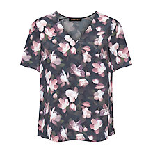 Buy Jaeger Silk Floral Top, Black/Pink Online at johnlewis.com