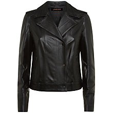 Buy Jaeger Leather Biker Jacket, Black Online at johnlewis.com