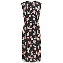 Buy Jaeger Floral Inverted Pleat Dress, Black/Pink Online at johnlewis.com