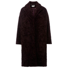 Buy Whistles Teddie Cocoon Coat, Burgundy Online at johnlewis.com