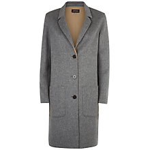 Buy Jaeger Double Faced Lapel Coat, Grey/Camel Online at johnlewis.com