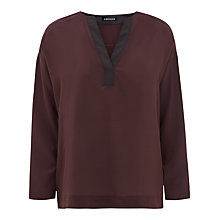 Buy Jaeger Essential Long Sleeve Silk Top, Chocolate Online at johnlewis.com