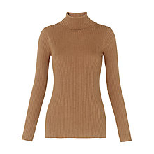 Buy Whistles Rib Roll Neck Jumper, Camel Online at johnlewis.com