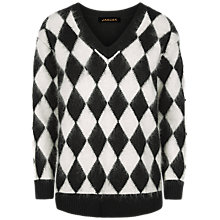 Buy Jaeger Mohair Harlequin Jumper, Black/White Online at johnlewis.com