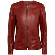 Buy Jaeger Waisted Leather Jacket, Brick Online at johnlewis.com