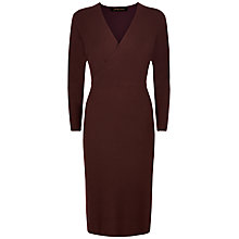 Buy Jaeger Wool Knit Wrap Dress, Chocolate Online at johnlewis.com