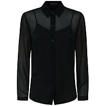 Buy Jaeger Silk Moire Blouse, Forest Green Online at johnlewis.com