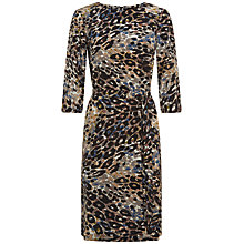 Buy Jaeger Silk Animal Print Dress, Green Online at johnlewis.com
