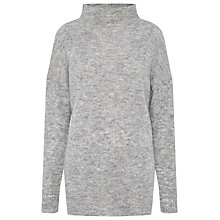 Buy Whistles Mohair Blend Funnel Neck Knit Jumper, Grey Online at johnlewis.com