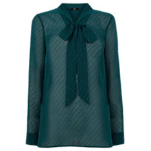Buy Oasis Textured Pussy Blouse, Deep Green Online at johnlewis.com