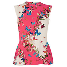Buy Oasis Kyoto Butterfly Peplum Top, Multi Online at johnlewis.com