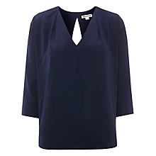 Buy Whistles Silk Jessa Top, Navy Online at johnlewis.com