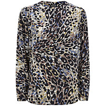 Buy Jaeger Silk Animal Print Blouse, Green Online at johnlewis.com