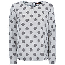 Buy Jaeger Silk Graphic Dot Print Top, Grey Online at johnlewis.com