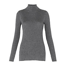 Buy Whistles Rib Roll Neck Jumper, Grey Online at johnlewis.com