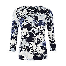 Buy Viyella Pleat Detail Floral Top, Pale Blue Online at johnlewis.com
