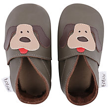 Buy Bobux Baby Leather Dog Motif Booties, Brown Online at johnlewis.com