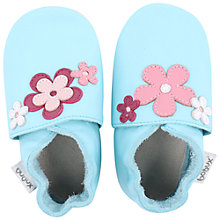 Buy Bobux Baby Leather Flower Motif Booties, Blue Online at johnlewis.com