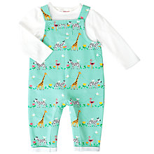 Buy John Lewis Baby Safari Jersey Dungarees, Green Online at johnlewis.com